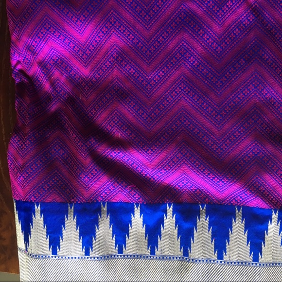georgeous pure silk magenta tanchoi saree sari nwt
